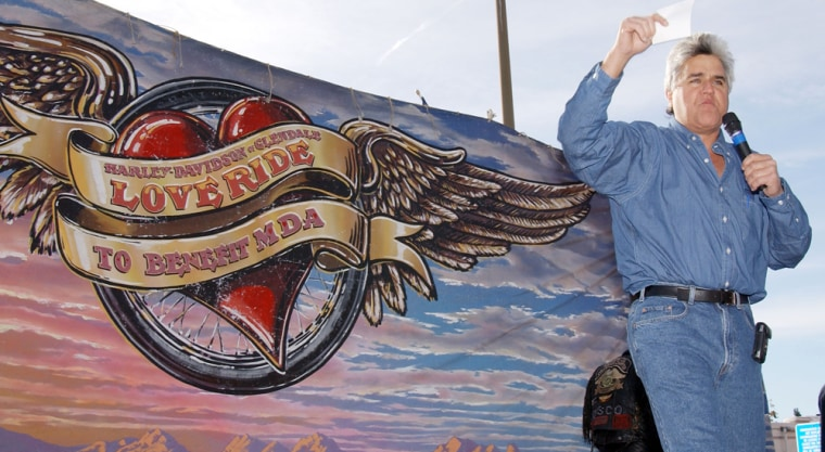 """Jay Leno served as Grand Marshal at """"Love Ride 19"""" on Nov. 10, 2002, in Glendale, Calif. The event benefited Reading By 9 and other charities."""
