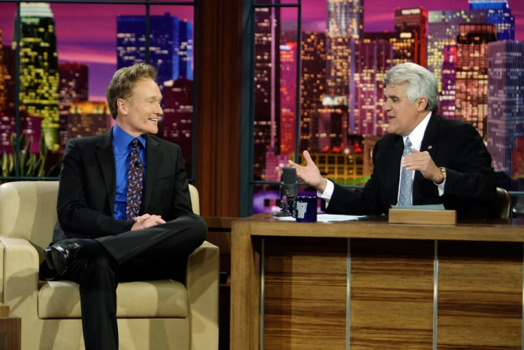 """Conan O'Brien, who inherited the """"Tonight Show"""" desk from Leno, was Leno's final guest on Friday, May 29, 2009. Leno told him he was the perfect choice as a replacement."""