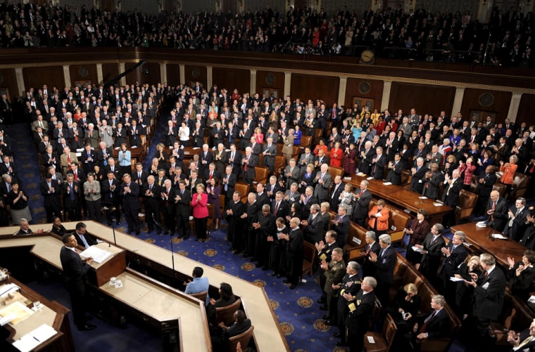US President Barack Obama addresses joint session of Congress.