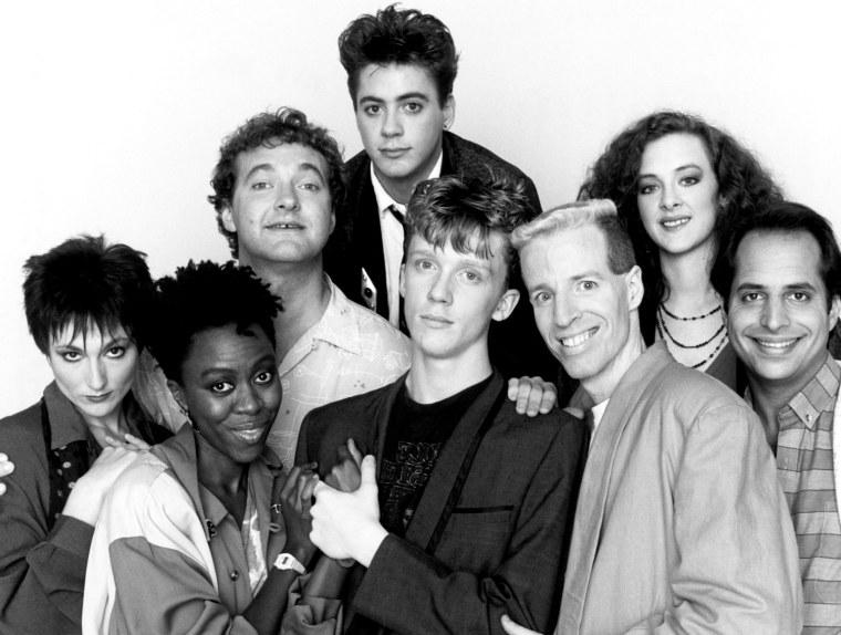 SATURDAY NIGHT LIVE, (l-r): Nora Dunn, Danitra Vance, Randy Quaid, Robert Downey Jr., Anthony Michael Hall, Terry Sweeney, Joan Cusack, Jon Lovitz, 1975-present, (c)NBC/courtesy Everett Collection