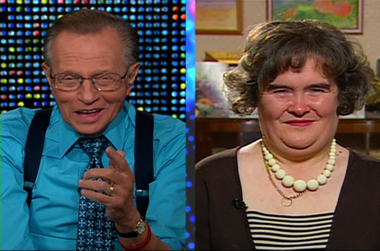 "This image made from video and provided Friday, April 17, 2009 by CNN's ""Larry King Live"" shows Larry King, left, and Scottish singer Susan Boyle. The massive media attention being lavished on Boyle virtually guarantees her a spot in the final rounds of ""Britain's Got Talent"". (AP Photo/CNN, Larry King Live) ** MANDATORY CREDIT    NO SALES **"