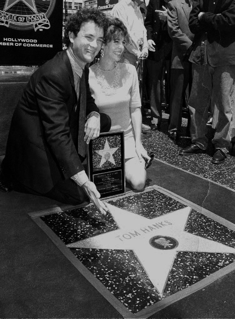 Calif: Actor Tom Hanks shows off his star on the H