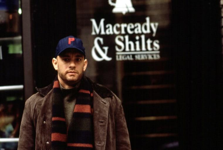 PHILADELPHIA, Tom Hanks, 1993, standing outside the legal office