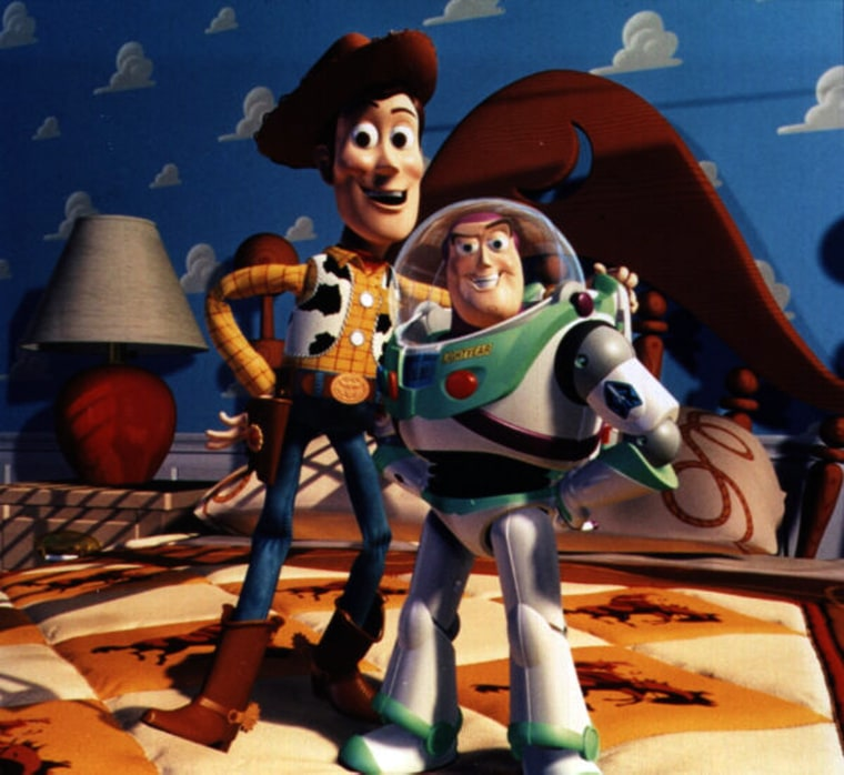 "TOY STORY (1995)  The art of animation goes ""to infinity and beyond"" as Walt Disney Pictures and Pixar Animation Studios, a Northern California-based pioneer in computer graphics, join creative forces on the infinitely entertaining ""Toy Story,"" the first full-length animated feature to be created entirely by artists using computer tools and technology. Four years in the making, this delightfully irreverent new comedy-adventure combines an imaginative story and great characters with the visual excitement of 3-D computer-generated animation. Conceived and directed by John Lasseter, a former Disney animator whose innovative work with Pixar includes the 1989 Oscar-winning short, ""Tin Toy,"" this film represents a major milestone in animated moviemaking with its groundbreaking graphic style adding to the believability of a world where toys have a life of their own. With a cast of top vocal talent headed by Tom Hanks and Tim Allen plus three entertaining new songs and an inspired score by renowned composer/performer Randy Newman, the fantasy takes flight and provides extraordinary delights for moviegoers of all ages."