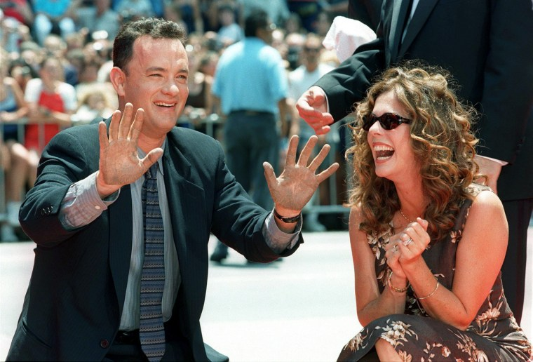 US actor and two time Oscar winner Tom Hanks (L) l