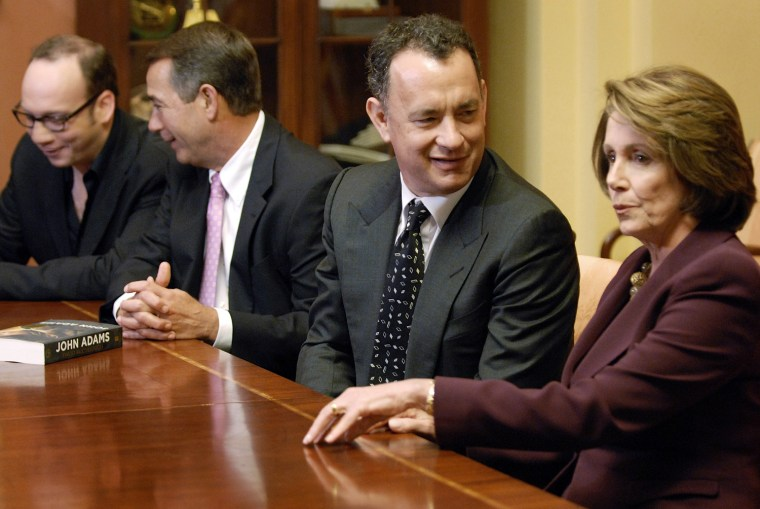 Pelosi, Hanks, Boehner and Giamatti sit down for screening of new HBO miniseries on life of John Adams at Capitol in Washington