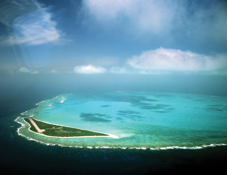 Aerial image of Kure Atoll, the last emergent land feature in the Hawaiian Archipelago.
