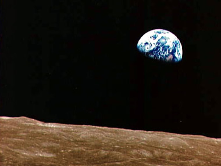 """""""Earthrise"""" seen by the Apollo 8 astronauts in December 1968. Credit: NASA."""