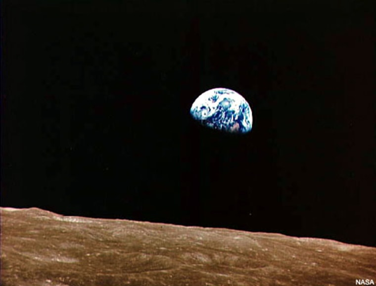 """Earthrise"" seen by the Apollo 8 astronauts in December 1968. Credit: NASA."