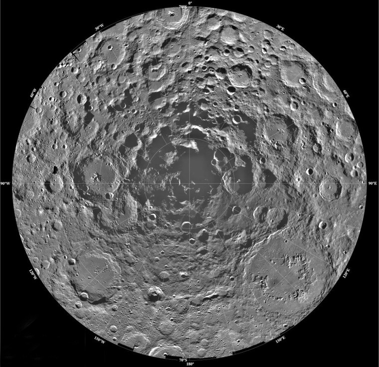 This mosaic image of the moon's southern polar region, made by the Clementine spacecraft in 1994, suggested that the region could harbor water ice within regions of its craters that are never lit by the sun. The water ice would be left over from impacting comets. Scientists have debated the evidence for and against water ice at the poles ever since the Clementine discovery. The current era of lunar exploration could resolve the debate. If water ice exists, it could help quench the thirst of future human colonists and be used to make fuel for rockets.