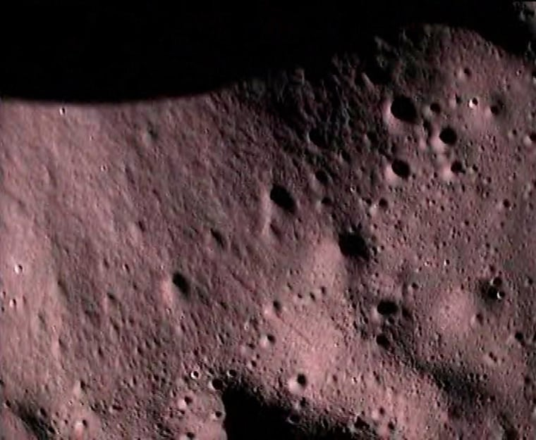 The Indian Space Research Organization successfully launched its Chandrayaan 1 spacecraft on Oct. 22, 2008 on a mapping mission to the moon. A probe released from the mothership took this picture of the lunar surface during its descent to a planned crash landing at the south pole. The Indian space agency plans to use this and other data for a lunar rover mission in 2011 and, eventually, a manned mission.