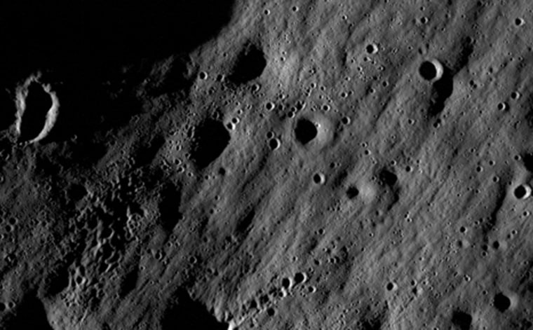 On June 18, 2009, NASA launched two spacecraft to the moon to map its surface in unprecedented detail, scout for future landing sites, and smash probes into a permanently shaded crater in hopes of resolving a longstanding debate over whether such regions contain water ice. NASAÕs Lunar Reconnaissance Orbiter will orbit both poles for a year, and its mission could be extended to serve as a communications relay for future lunar missions. This is one of the first pictures sent back by the orbiter. LROÕs sibling, the crater-smacking LCROSS probe, is due to impact the moonÕs south pole in October 2009.