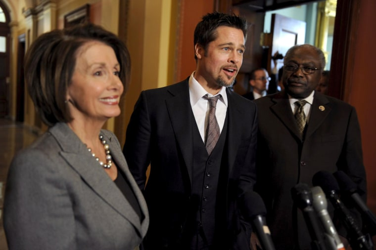 Movie star Brad Pitt visits the U.S. Capitol to promote New Orleans reconstruction