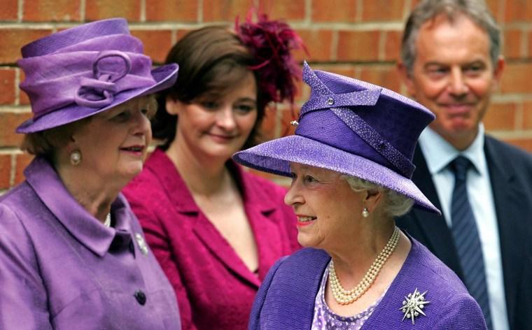 Britain's Queen Elizabeth II, (Foregroun