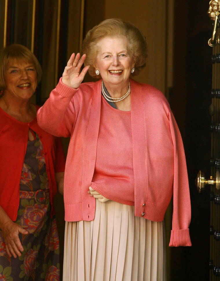 Margaret Thatcher Leaves Hospital After Surgery On Her Arm