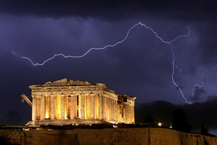 The ancient Greek Parthenon temple, atop