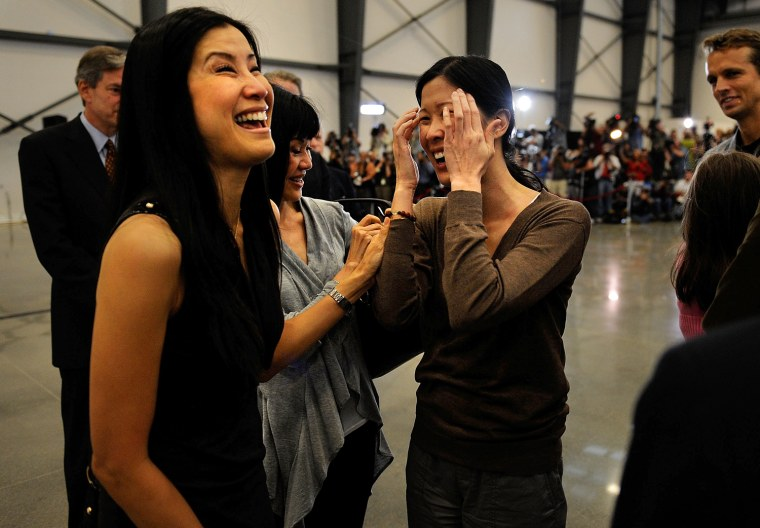 Image: Laura Ling And Euna Lee Arrive Home At Hangar 25
