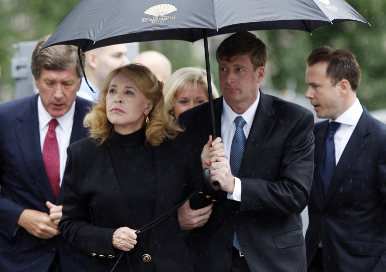 Image: Congressman Patrick Kennedy escorts his mother during Edward Kennedy's funeral services at the Basilica of Our Lady of Perpetual Help in Boston