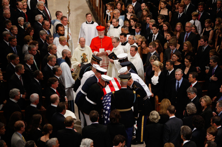 Image: The casket of Senator Edward Kennedy is brought into Our Lady of Perpetual Help Basilica in Boston
