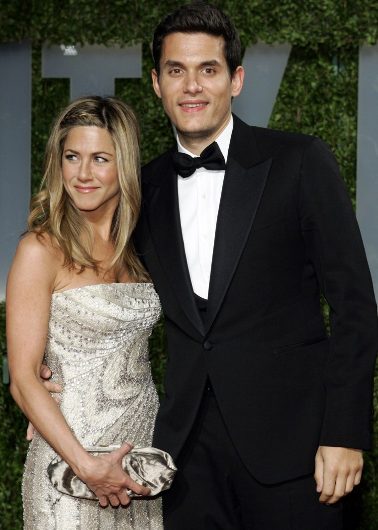 Image: Actress Aniston and singer Mayer at 2009 Vanity Fair Oscar Party in West Hollywood
