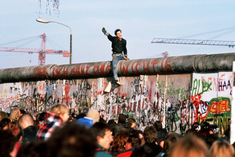German Youth Astride the Berlin Wall