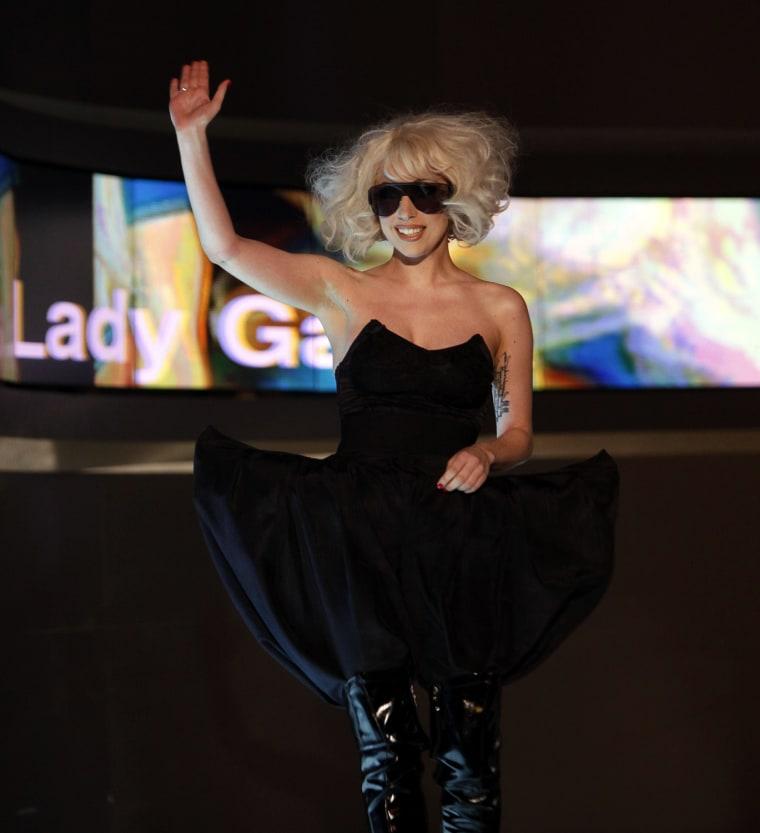 """Image: U.S. singer Lady Gaga waves during the German TV show \""""Wetten dass...?\"""" (Bet it...?) in Braunschweig"""