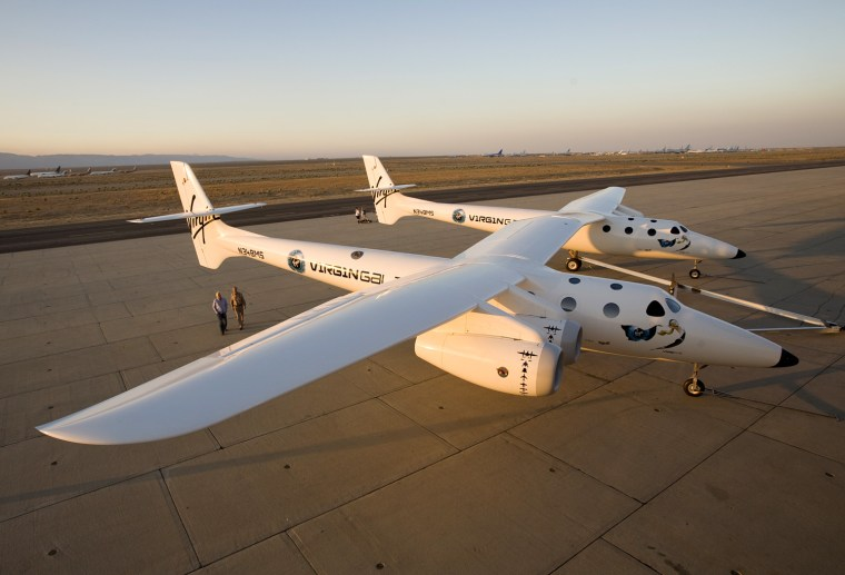 This photo ofWhiteKnightTwo was taken in Mojave, Calif., during its unveiling in 2008.