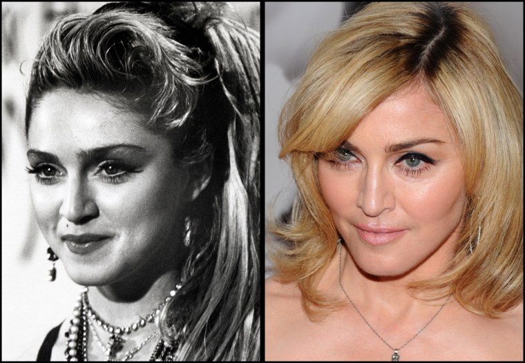 """Madonna, 1/28/1985  Singer Madonna attends the premiere of """"Nine"""" at the Ziegfeld Theatre in New York, on Tuesday, Dec. 15, 2009."""