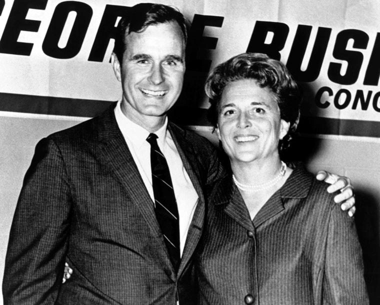George Herbert Walker Bush poses with his wife Bar