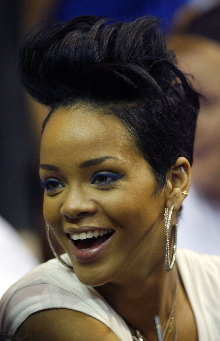 Image: Singer Rihanna sits courtside during Game 4 of NBA Finals basketball game in Orlando