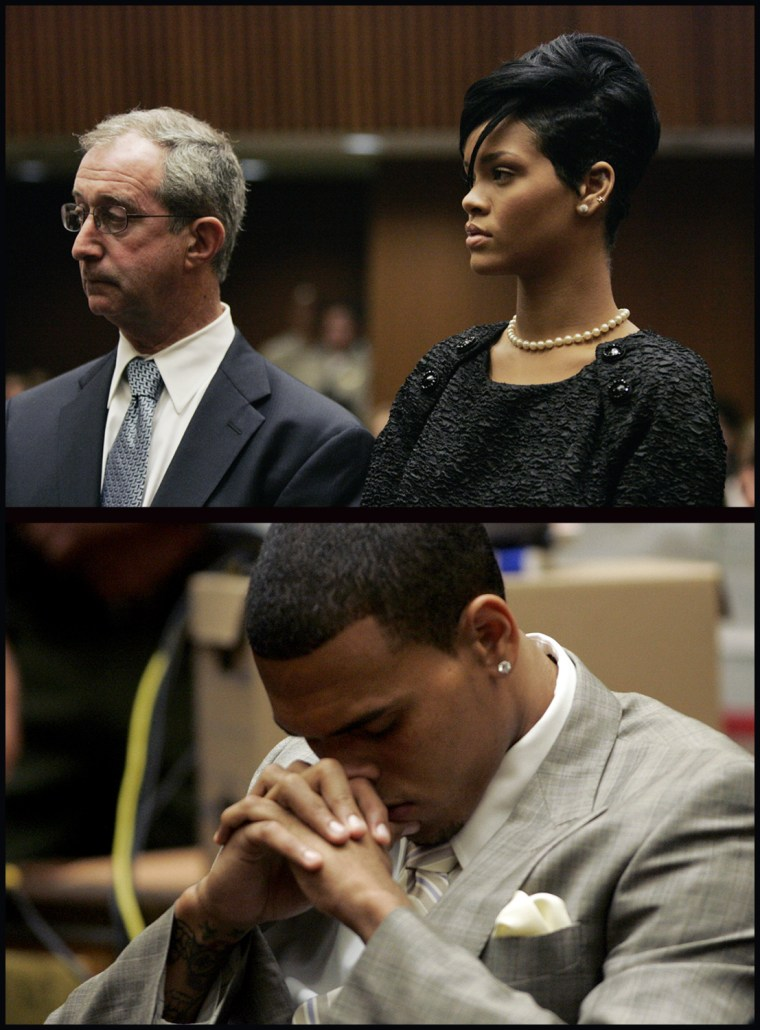 Lawyer Donald Etra (L) stands with singer Rihanna inside the Los Angeles Superior Court during the hearing in the Chris Brown felony assault case on June 22, 2009. R&B singer Chris Brown has pleaded guilty to assaulting former girlfriend Rihanna and will be sentenced to 180 days of community labor for the attack, lawyers said June 22, 2009            Singer Chris Brown inside the Los Angeles Superior Court during the hearing in his felony assault case, against Rihanna, on June 22, 2009.   R&B singer Chris Brown has pleaded guilty to assaulting former girlfriend Rihanna and will be sentenced to 180 days of community labor for the attack, lawyers said June 22, 2009