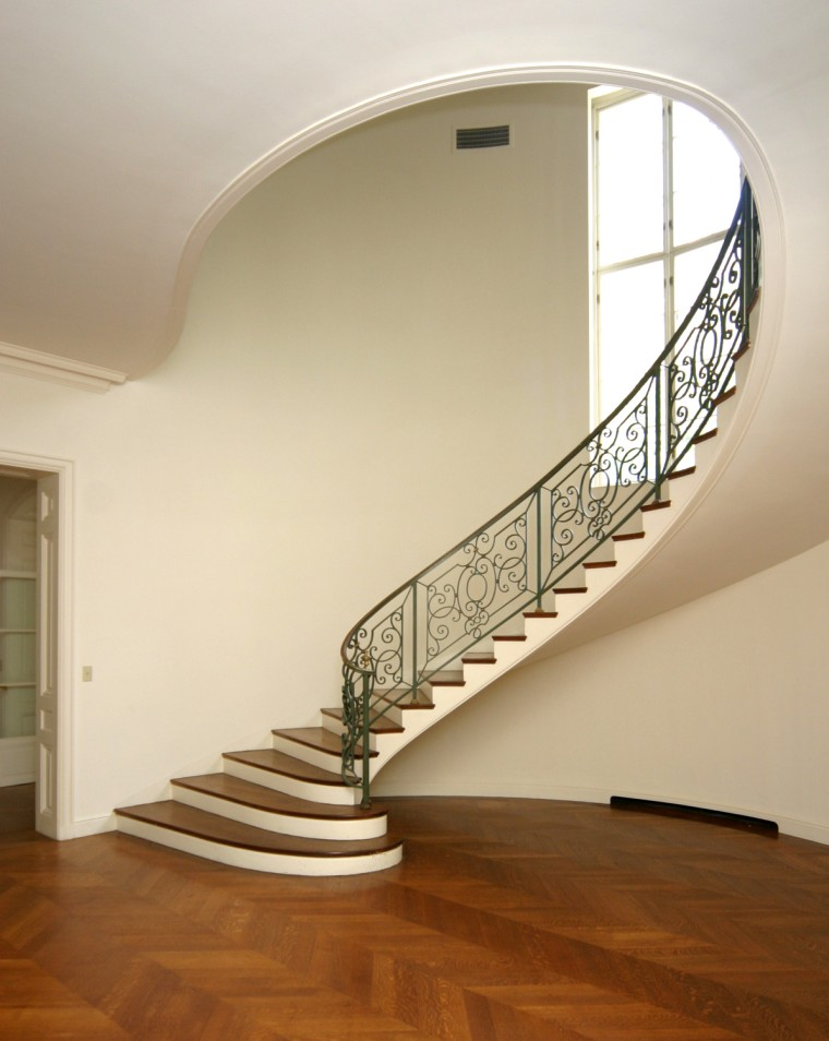 A grand staircase in Le Beau Château, the Clark estate in New Canaan, Conn.