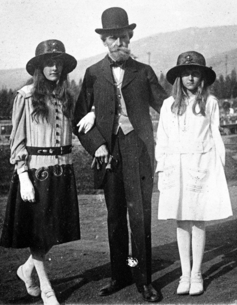Copper king William Andrews Clark and his daughters, Andrée (left) and Huguette, in about 1915 at the Columbia Gardens amusement park, which he built for the people of Butte, Mont. Photo may not be re-used without written permission of MHS Research.