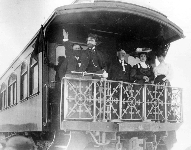 William Andrews Clark in Las Vegas, the seat of Clark County, named for him. Then a United States senator, Clark spoke to a crowd in Las Vegas from his private Pullman railroad car in 1905. Not for reuse without permission of the University of Nevada, Las Vegas.