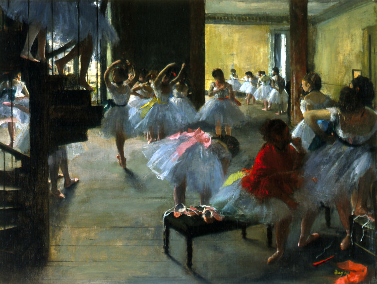 "Edgar Degas, ""The Dance Class,"" c. 1873, oil on canvas, Corcoran Gallery of Art, Washington, William A. Clark Collection."