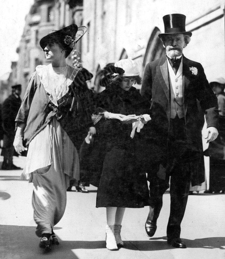 The Easter Parade on Fifth Avenue, New York City, 1912, with Anna and former Sen. William Andrews Clark and their elder daughter, Andreé.