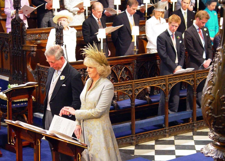 Image: Prince of Wales and the Duchess of Cornwall watched by other members of the royal family during blessing at St. George's Chapel in Windsor Castle