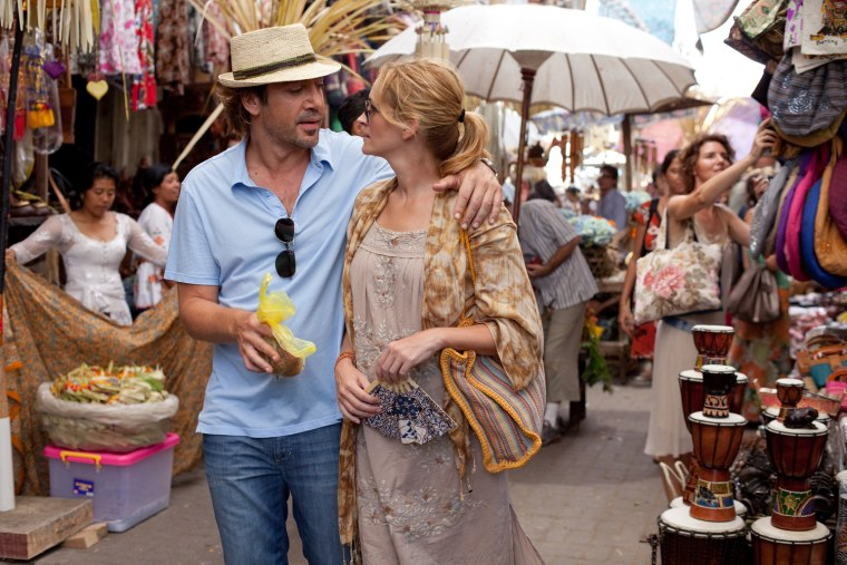 """In this film publicity image released by Sony, Javier Bardem, left, and Julia Roberts are shown in a scene from """"Eat, Pray, Love."""" (AP Photo/Sony, Francois Duhamel)"""