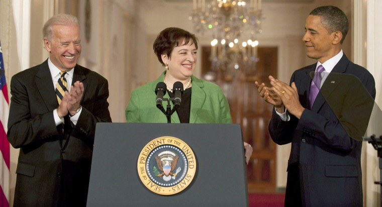 US President Barack Obama (R) and Vice President Joe Biden (L) applaud as  Solicitor General Elena Kagan accepts her nomination to the Supreme Court during an event in the East Room of the White House in Washington, DC, May 10, 2010. Kagan, 50, has close ties to Democratic power brokers, and the lifetime appointment would offer the party the hope of a progressive voice on the Supreme Court for many years to come. If confirmed by the Democratic-controlled Senate, Kagan would replace retiring John Paul Stevens, 90, the court's leading liberal, who sat on the bench for 34 years, through a time of turmoil and change in US life. A former Harvard law professor, Kagan would be the fourth woman to serve on the top US court, and the president's second pick after he chose Sonia Sotomayor, as the first Hispanic Supreme Court justice, last year. AFP PHOTO/Jim WATSON (Photo credit should read JIM WATSON/AFP/Getty Images)