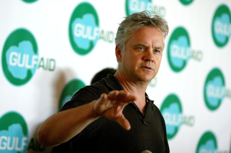 Image: Actor Tim Robbins talks to the media at the Gulf Aid benefit concert at Mardi Gras World in New Orleans