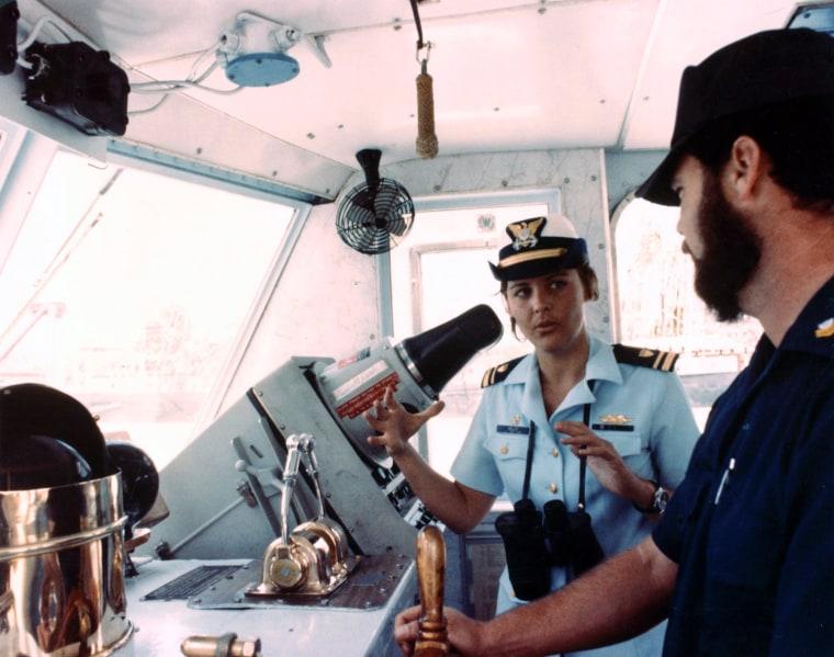 Lieutenant (junior grade) Beverly Kelley, first woman to command a US military vessel, the 95-foot US Coast Guard Cutter Newagen, 1979.  US Coast Guard Photograph