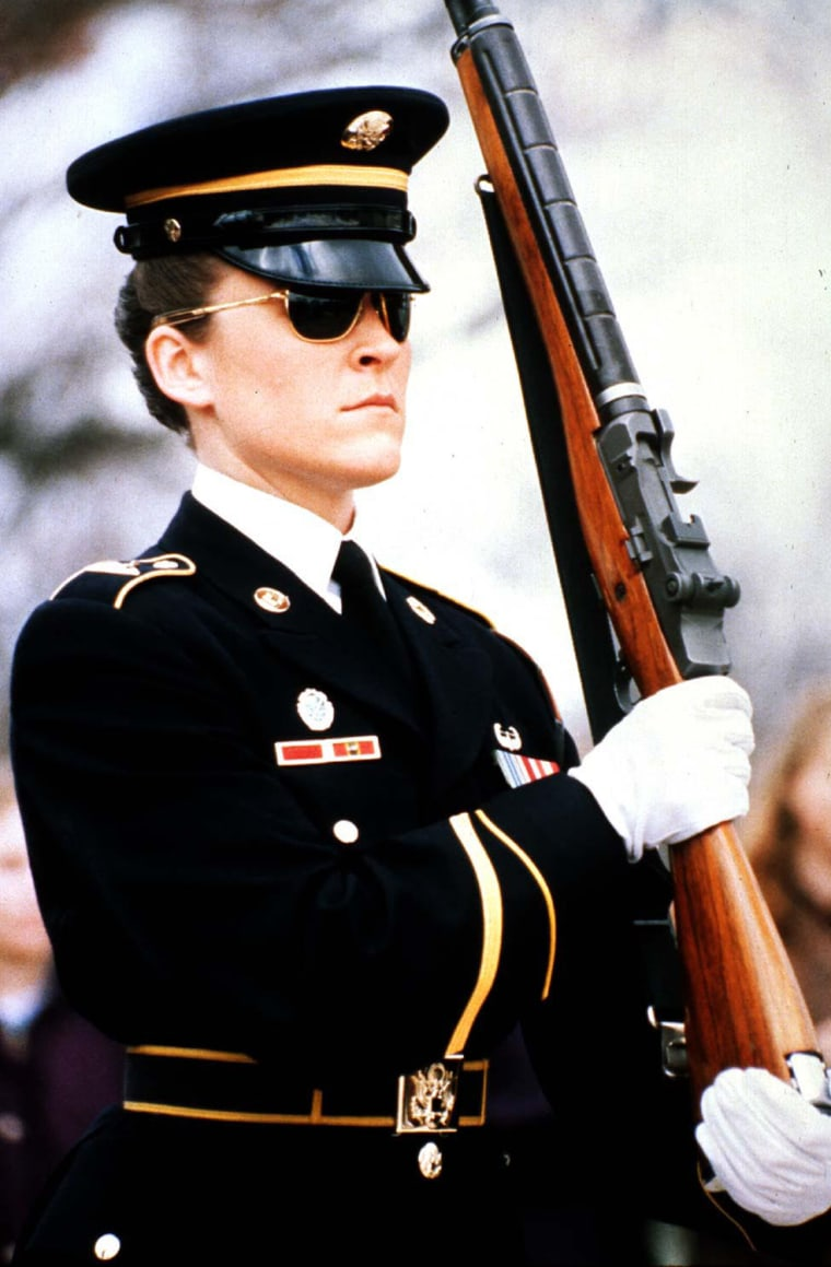 Army Sergeant Heather Johnsen, the first female assigned to stand guard at the Tomb of the Unknowns, Arlington National Cemetery, 1996.  US Army Photograph