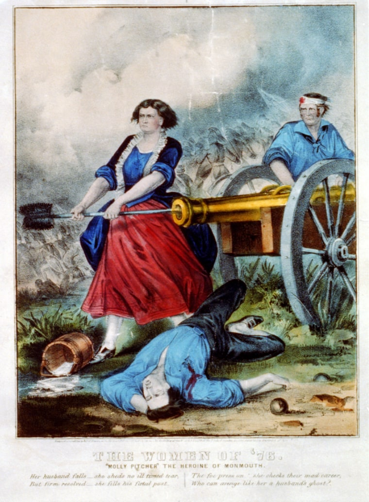 """Currier & Ives lithograph, 'The Women of '76: """"Molly Pitcher"""" The Heroine of Monmouth'  Library of Congress, Prints and Photographs Division (LC-USZC2-3186)"""