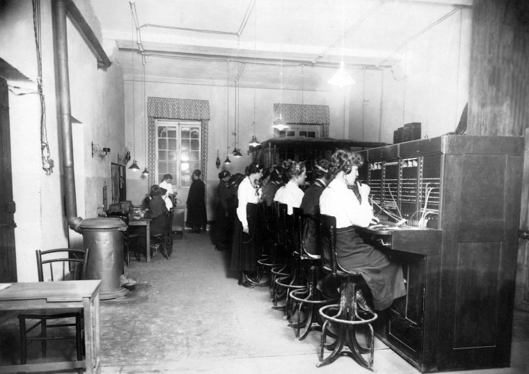 """US Army Signal Corps telephone operators or """"Hello Girls"""", Tours, France, World War I.  Elizabeth Anne Browne Collection, Gift of L.C. Jones, Women In Military Service For America Memorial Foundation, Inc."""