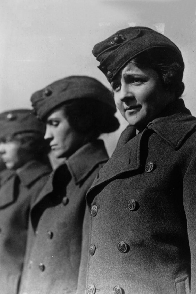 Private First Class Edith Macias, Marine Reservist (F), during a review by Major General George Barnett, Marine Corps Commandant, Washington, DC, WWI.  National Archives (165-WW-598-A-10)