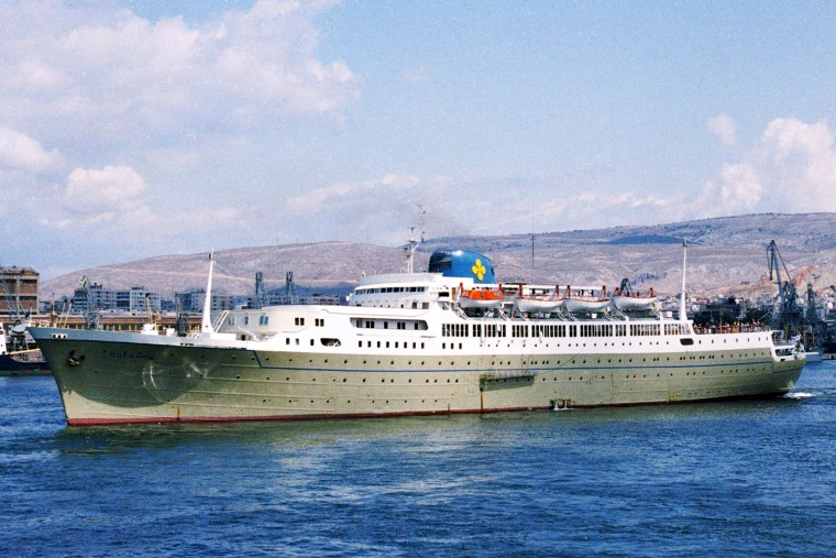 Oceanos leaving the port of Piraeus, Greece in June 1983.