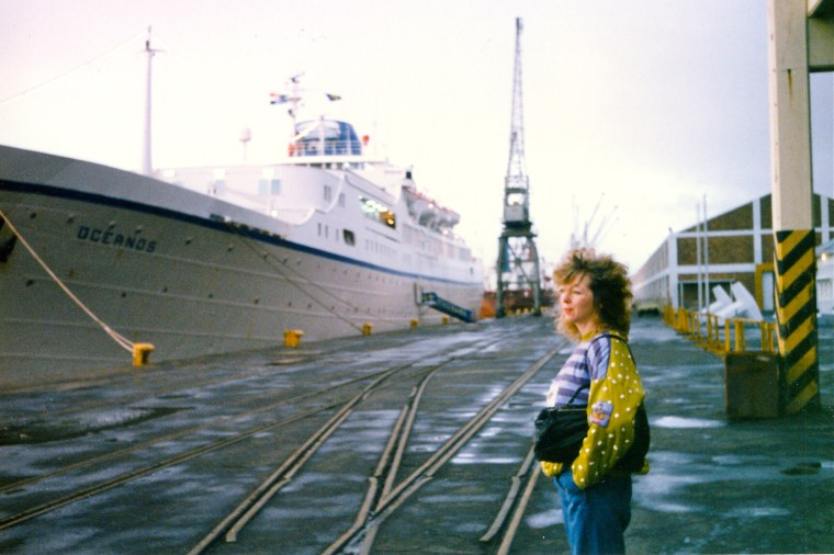 August 3, 1991. Passenger Karen Winter on the East London pier before the ship's final overnight sail.