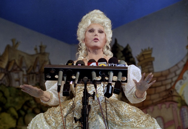 "Actress Zsa Zsa Gabor responds to reporters questions during a news conference prior to a performance in the stage play ""Cinderella"" on Wednesday, Dec. 8, 1993, in Los Angeles.   A jury ordered Gabor and her husband Fredrick Von Anhalt to pay actress Elke Sommer an added $1.2 million in punative damages for allegedly telling German publications the actress is a Hollywood has-been.   Gabor has previously been ordered to pay $2 million in general damages.   (AP Photo/Chris Martinez)"