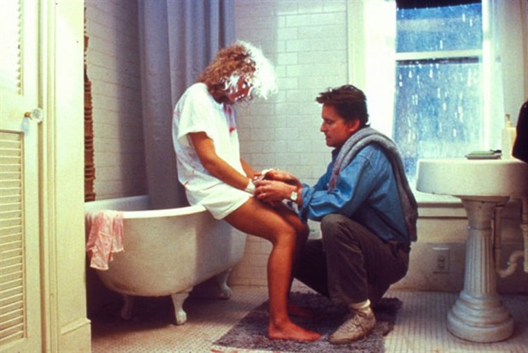 Fatal Attraction (1987)  A happily married New York City attorney engages in a one- night stand while his wife and child are away. The woman refuses to end the affair and, subsequently terrorizes the attorney and his family.