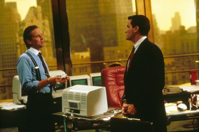 Wall Street (1987) A young stockbroker prospers on wall street under the tutelage of a greey millionaire stockbroker.
